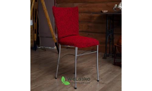 Чехлы на стулья без оборки жаккардовые бордо