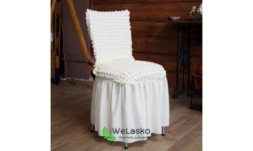 Чехлы на стулья с оборкой стрейчевые шампань