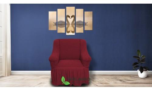 Чехлы на кресла стрейчевые с оборкой бордо