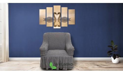 Чехлы на кресла стрейчевые с оборкой графит