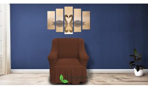 Чехлы на кресла стрейчевые с оборкой шоколад