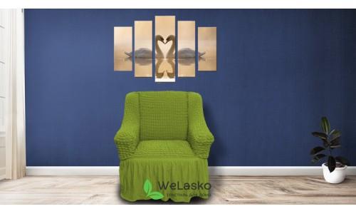 Чехлы на кресла стрейчевые с оборкой зеленый