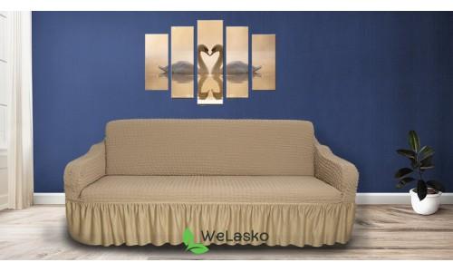 Чехлы на 3-х местный диван стрейчевые с оборкой бежевый