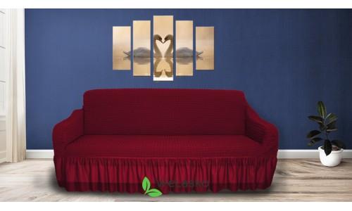 Чехлы на 3-х местный диван стрейчевые с оборкой бордо