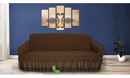 Чехлы на 3-х местный диван стрейчевые с оборкой коричневый