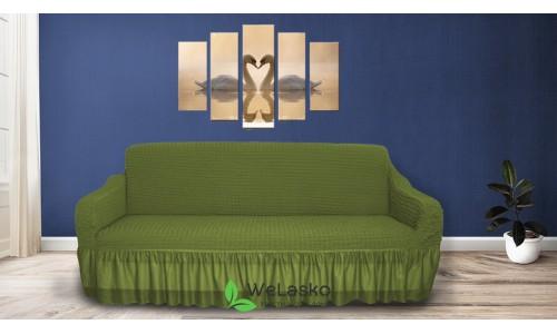 Чехлы на 3-х местный диван стрейчевые с оборкой зеленый