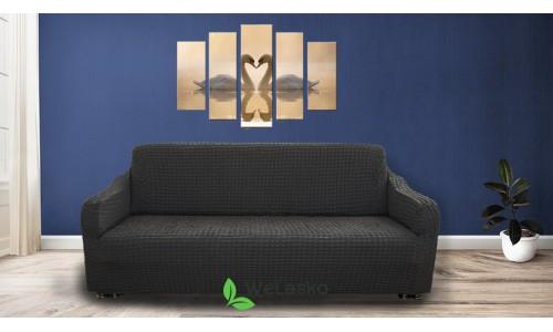 Чехлы на 2-х местный диван стрейчевые без оборки графит