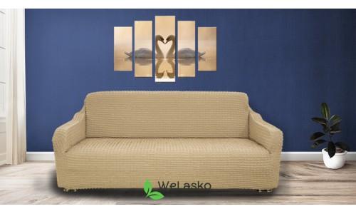 Чехлы на 3-х местный диван стрейчевые без оборки бежевый