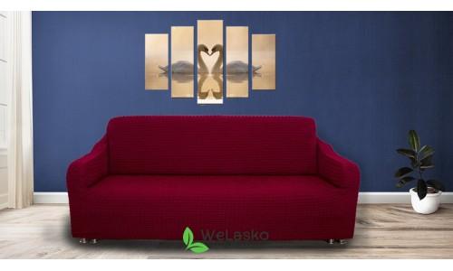 Чехлы на 2-х местный диван стрейчевые без оборки бордо