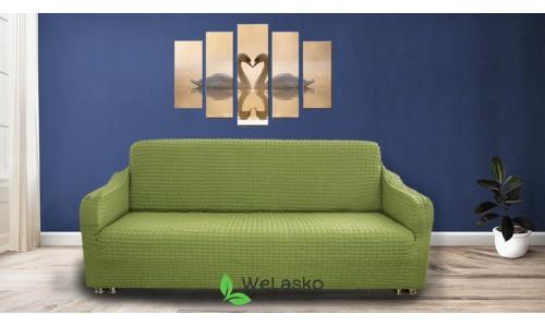 Чехлы на 3-х местный диван стрейчевые без оборки зеленый