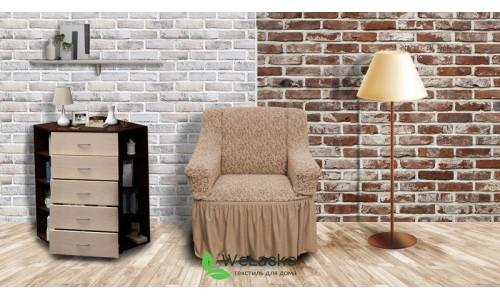 Чехлы на кресла жаккардовые с оборкой бежевый