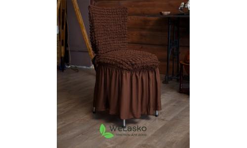 Чехлы на стулья с оборкой стрейчевые шоколад