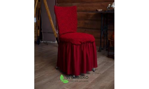 Чехлы на стулья с оборкой жаккардовые бордо